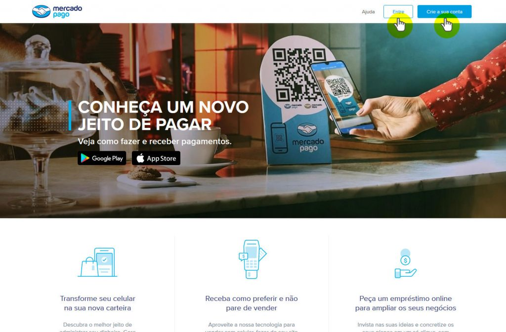 Página inicial do MercadoPago